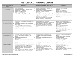 Historical Thinking Chart - Stanford History Education Group