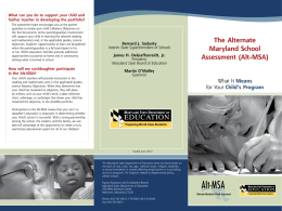 Alt-MSA - MSDE Home - Maryland State Department of Education