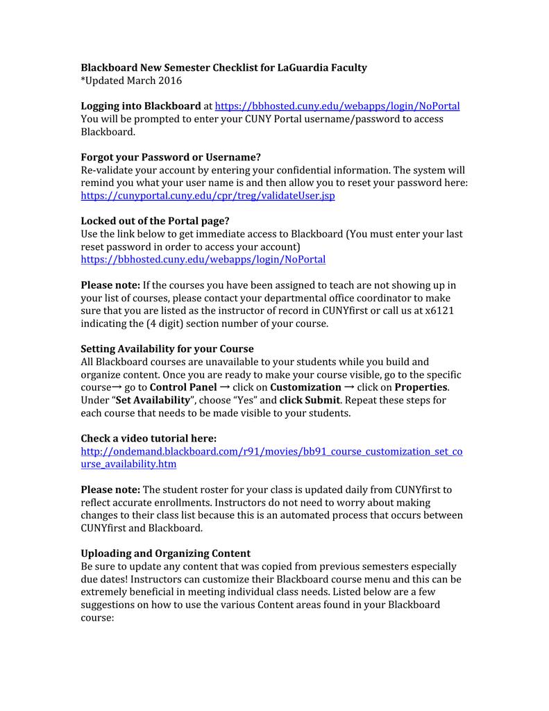 Blackboard New Semester Checklist for LaGuardia Faculty