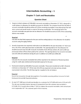 Intermediate Accounting — 1 Chapter 7: Cash and Receivables