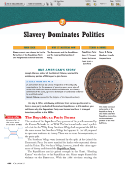 Slavery Divides the Nation - St. Anastasia Catholic School
