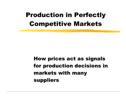 Production in Perfectly Competitive Markets
