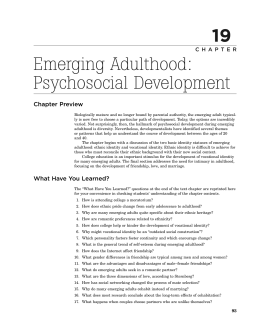 reflection paper emerging adulthood Start studying adolescent psych exam 2 part the cognitive ability of self-reflection in terms of gender differences in adolescence and emerging adulthood.