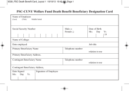 PSC-CUNY Welfare Fund Death Benefit Beneficiary Designation Card