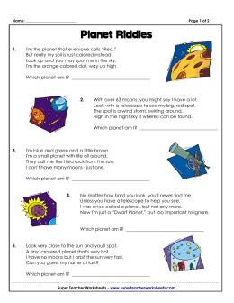 Planet Riddles - Super Teacher Worksheets
