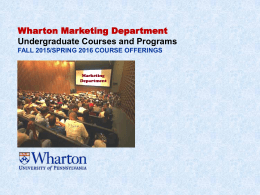 Wharton Marketing Department Undergraduate Courses and