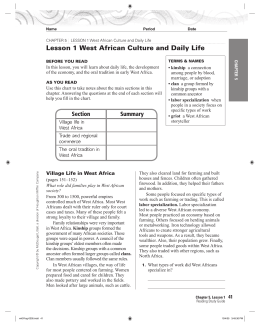 Lesson 1 West African Culture and Daily Life