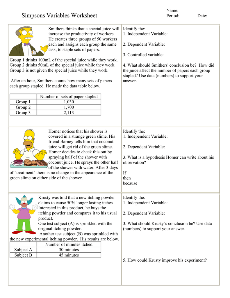 Identifying Independent And Dependent Variables Worksheet Free ...