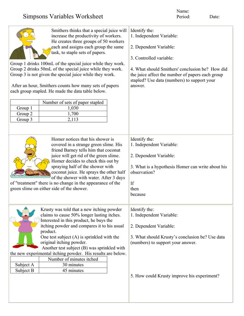 Workbooks identifying adjectives worksheets : Identifying Independent And Dependent Variables Worksheet Free ...