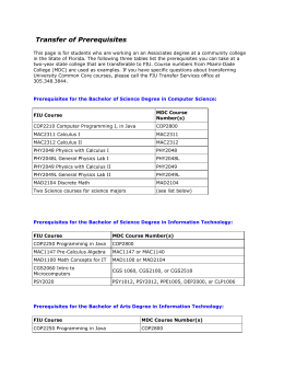 Transfer of Prerequisites - School of Computing and Information