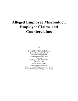 Alleged Employee Misconduct - Robert B. Fitzpatrick, PLLC