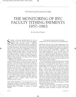 the monitoring of byu faculty tithing payments 1957–1963