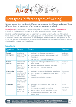 Text types (different types of writing)