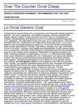 Buy Generic Ovral Online