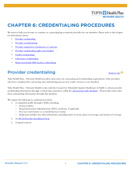chapter 6: credentialing procedures