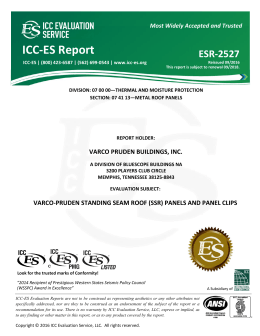ESR-2527 - Varco Pruden Buildings, Inc. - ICC-ES