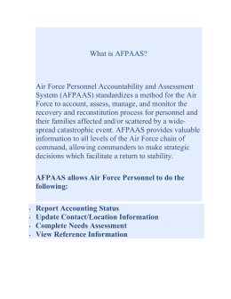 What is AFPAAS? Air Force Personnel Accountability and