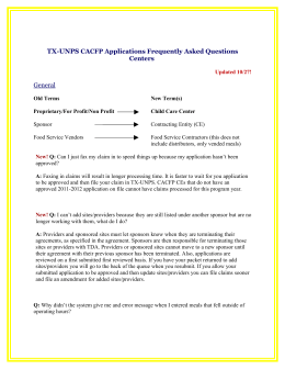 TX-UNPS CACFP Frequently Asked Questions
