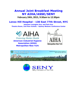 Annual Joint Breakfast Meeting NY AIHA/ASSE/SENY