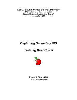 Beginning Secondary SIS Training User Guide