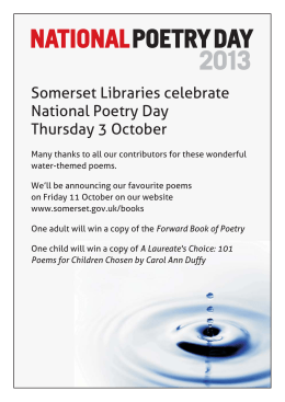National Poetry Day - water poems