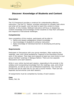 Discover: Knowledge of Students and Content
