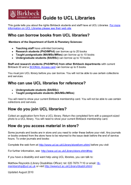 Guide to UCL Libraries