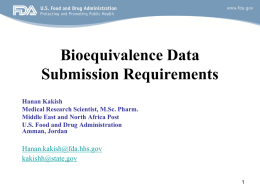 Bioequivalence Data Submission Requirements