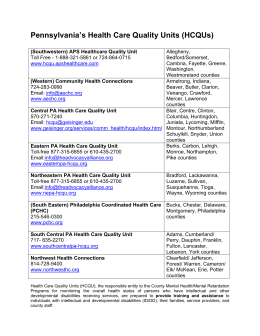 Listing of Pennsylvania HCQUs Contact Information