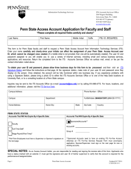 Penn State Access Account Application for Faculty and Staff