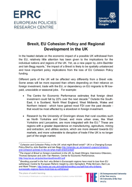 Brexit, EU Cohesion Policy and Regional Development in the UK