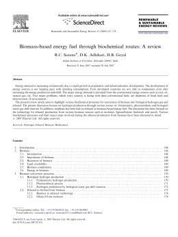 Biomass-based energy fuel through biochemical routes: A review