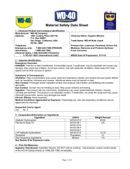 Material Safety Data Sheet (MSDS) - WD-40