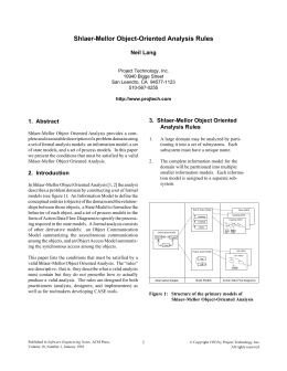 Shlaer-Mellor Object-Oriented Analysis Rules - Shlaer