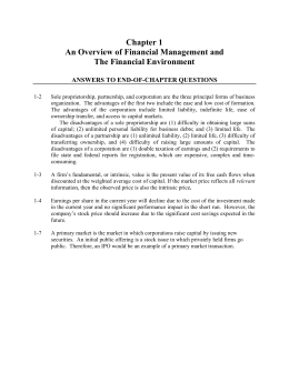Chapter 1 An Overview of Financial Management and The Financial