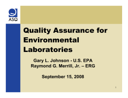 Quality Assurance for Environmental Laboratories