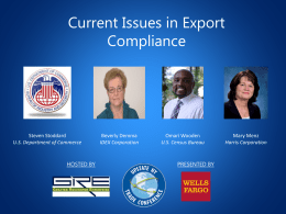 Current Issues in Export Compliance