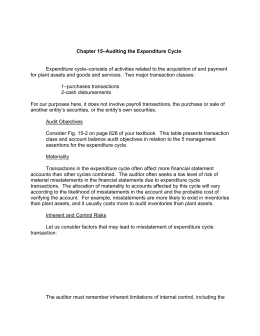 Chapter 15–Auditing the Expenditure Cycle Expenditure cycle