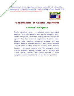 Fundamentals of Genetic Algorithms