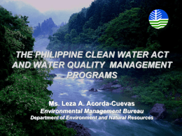 the philippine clean water act and water quality management