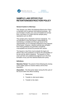 SAMPLE LAW OFFICE FILE RETENTION/DESTRUCTION POLICY