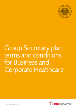 Group Secretary plan terms and conditions for