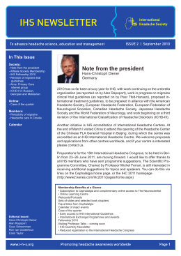 ihs newsletter - International Headache Society