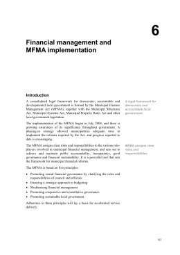 Financial management and MFMA implementation
