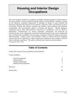 Housing and Interior Design Occupations