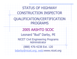 status of highway construction inspector qualification/certification