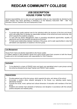 Job Description - Form Tutor