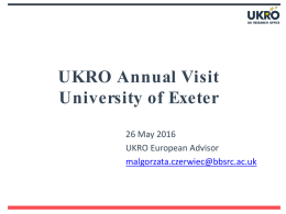 UKRO Annual Visit University of Exeter