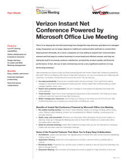 Instant Net Conference Powered by Microsoft Office Live Meeting