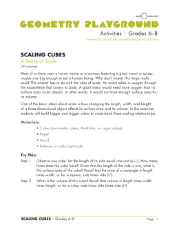 Activities | Grades 6–8 SCALING CUBES